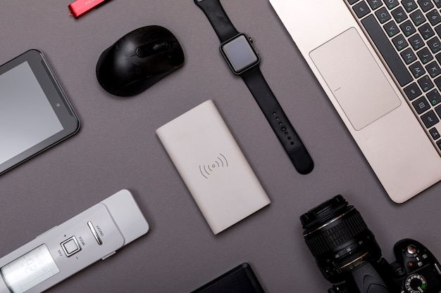 Flat lay of designer workplace.