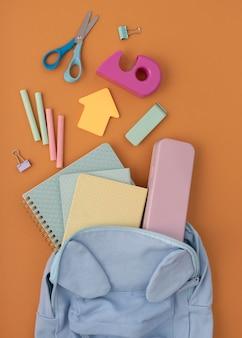 Flat lay desk arrangement with items
