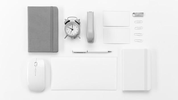 Flat lay desk items arrangement