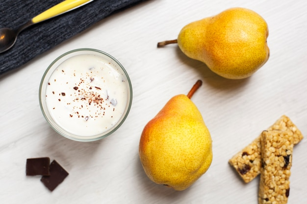 Flat lay dessert with pears