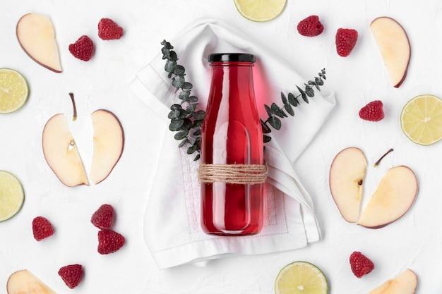 Flat lay detox fruit drink