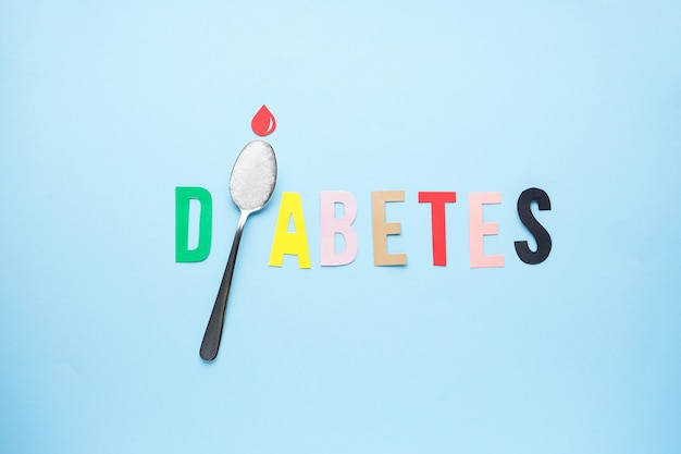 Flat lay of diabetes concept with teaspoon with sugar