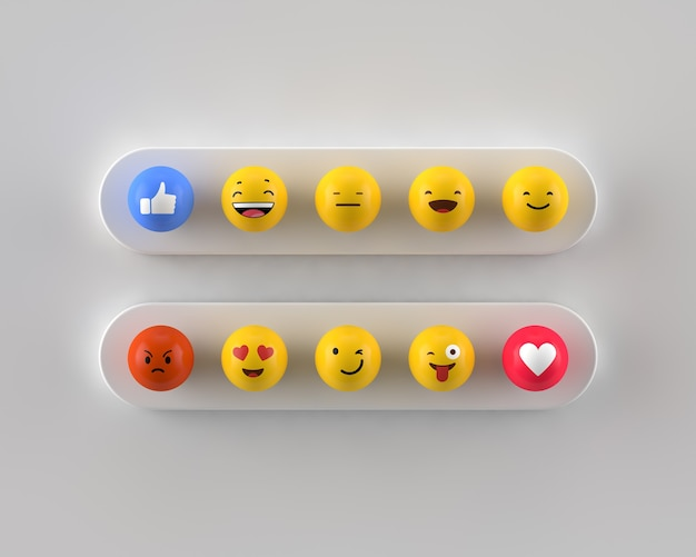 Flat lay of different emoticon in 3d format
