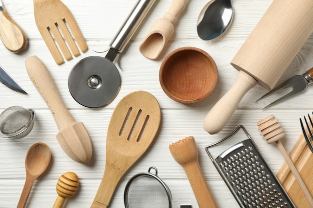 Flat lay of different kitchen cutlery