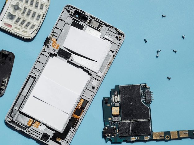 Flat lay of disassembled phone