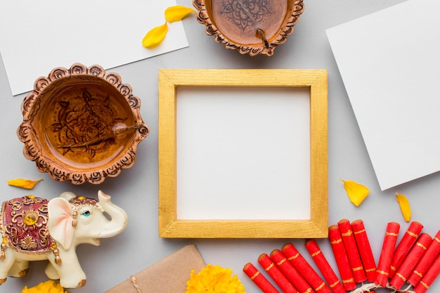 Flat lay of diwali concept with copy space