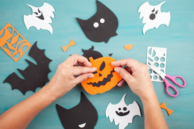 Flat lay of diy halloween decoration
