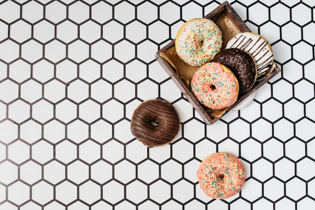Flat lay donut composition with copyspace