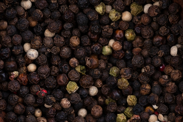 Flat lay of dried black pepper background