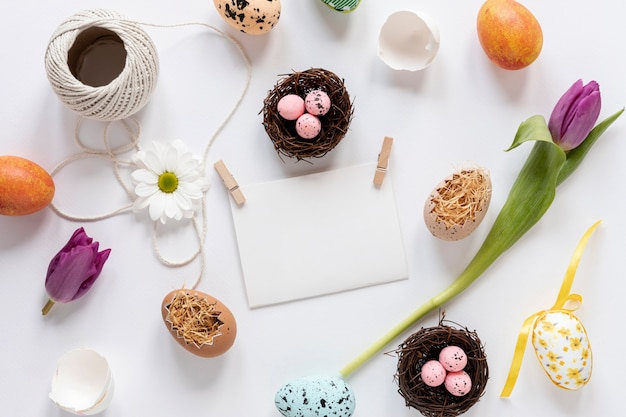 Flat lay easter decorations and eggs