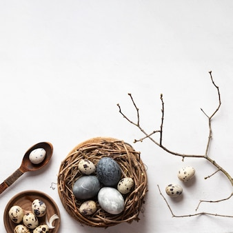 Flat lay of easter eggs in bird nest with copy space and twig