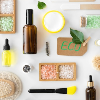 Flat lay eco beauty and health spa concept