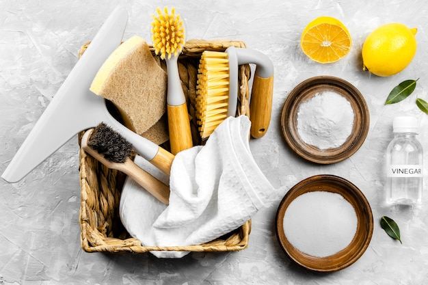 Flat lay of eco cleaning products in basket