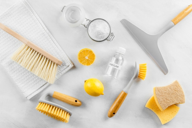 Flat lay of eco-friendly cleaning products collection