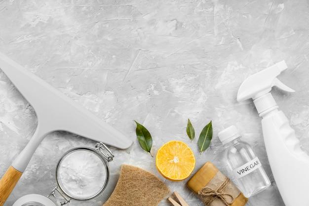 Disposizione piatta di prodotti per la pulizia ecologici