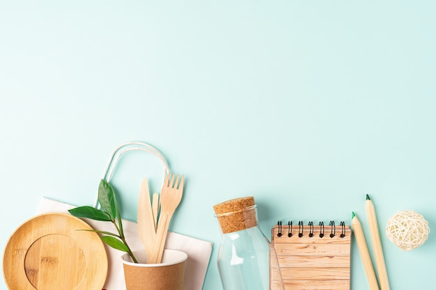 Flat lay eco zero waste plastic free concept with copy space