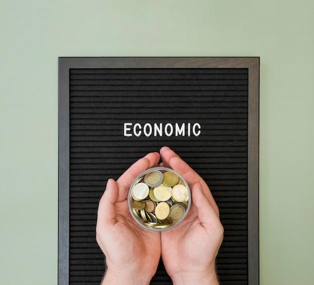 Flat lay of economy concept