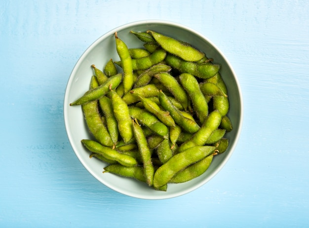 Flat lay edamame beans in bowl