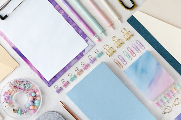 Flat lay of education, office or school stationary