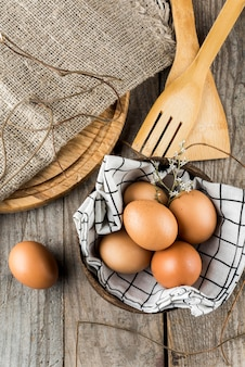 Flat lay eggs in bowl arrangement