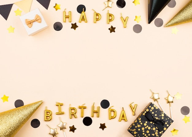 Flat lay elegant birthday candles frame