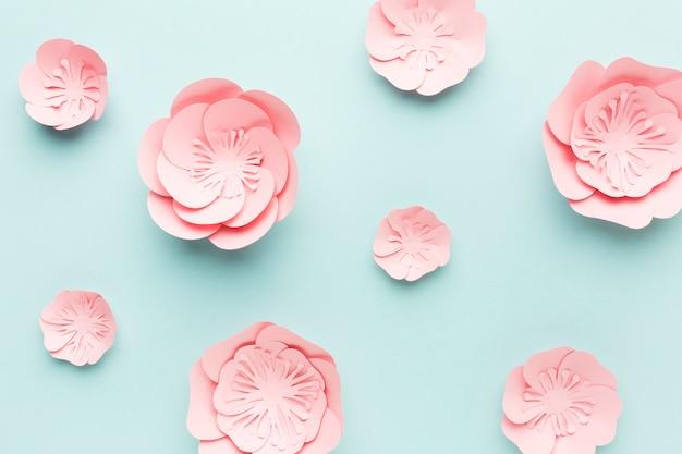 Flat lay elegant floral paper decoration