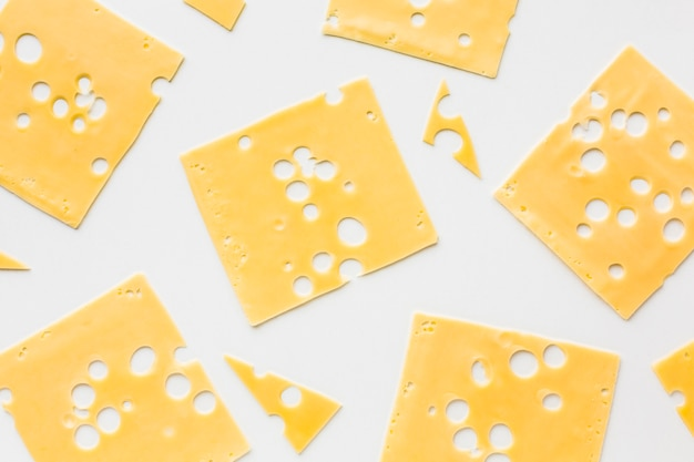 Flat lay emmental cheese slices