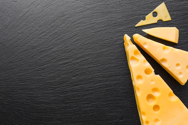 Flat lay emmental cheese with copy space