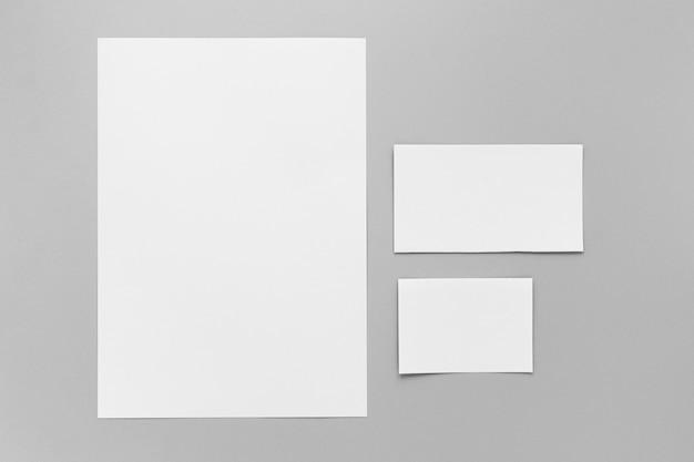 Flat lay empty paper sheets arrangement