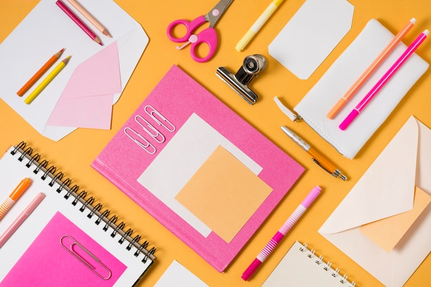 Flat lay envelopes and paperclips