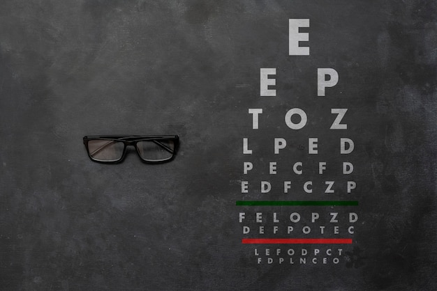 A flat lay of the eyesight chart test, otical view check with glasses