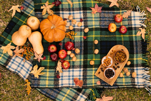 Flat lay fall assortment on picnic blanket