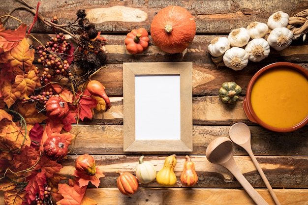 Flat lay fall season food frame