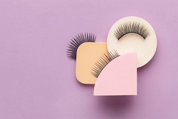 Flat lay false eyelashes arrangement