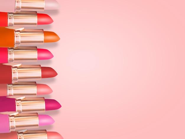 유행 배경에 립스틱의 평평하다 패션. 분홍색 테마의 필수 뷰티 아이템은 홍보용 프레임을 구성합니다.