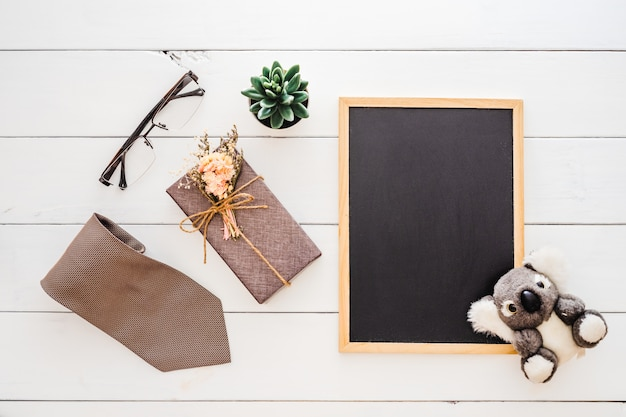 Flat lay father's day mockup background concept.