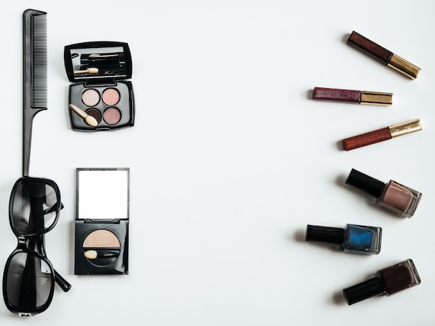 Flat lay female cosmetics collage. top view set. copy space