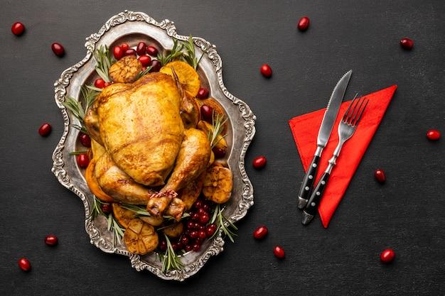 フラットレイお祝いのクリスマス料理の構成