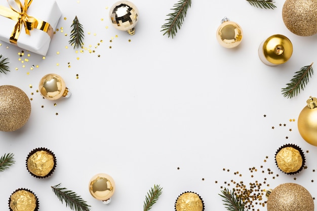 Flat lay festive christmas ornaments with copy space
