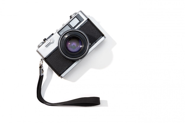 Flat lay film camera isolated. copy space