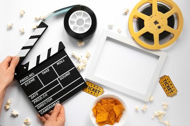 Flat lay film elements on white background