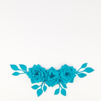 Flat lay floral decoration with white background