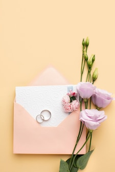 Flat lay floral luxury wedding stationery