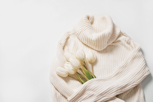 Flat lay flowers. bouquet of white tulips.