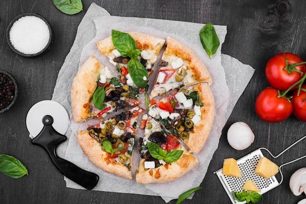 Flat lay fluffy pizza arrangement