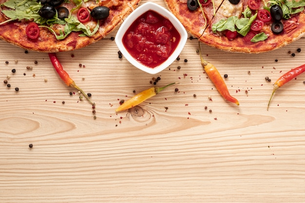 Flat lay food frame with copy-space