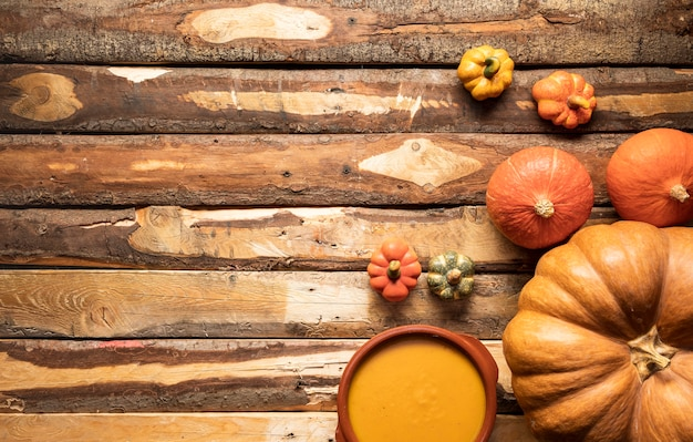 Flat lay food frame with pumpkin