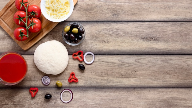 Flat lay food frame on wooden background