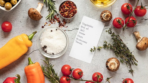 Flat lay of food ingredients with vegetables