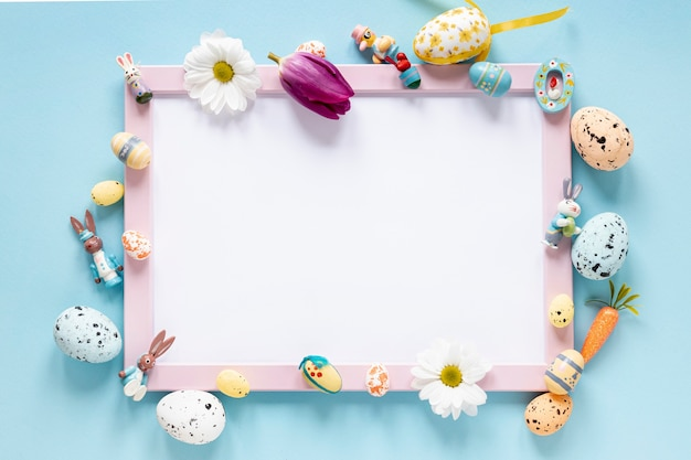 Flat lay frame of decorations for easter